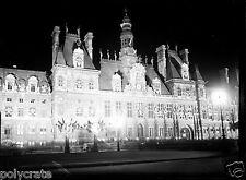 Paris hôtel de ville place de Grève la nuit négatif photo verre plaque an. 1930