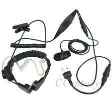 2 Pin FBI VOX PTT Heavy Duty Tactical Throat Mic Headset For ICOM Radio IC-F3S