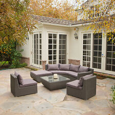 Outdoor Patio Furniture 7pc Grey All-weather Wicker Sectional Sofa Set