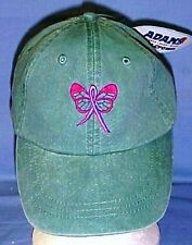 Breast Cancer Awareness Pink Butterfly Ribbon Washed Green Baseball Hat New