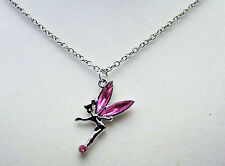 Silver colour Tinker bell style pendant necklace with pink jewelled wings
