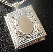 "Silver Plated Locket Pendant for Two Photos & 18"" Silver Plated Necklace Chain"