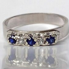 VINTAGE 1940s 9ct White Gold Eternity Ring with 3x Sapphires