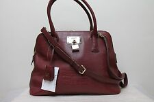NEW DKNY Brown Beekman Lizard French Grain Round Satchel Women's Bag Was 375