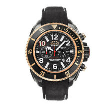 "Emas ""Paparazzi"" Steel Black Cronograph Automatic Swiss Gold Leather Watch Men's"