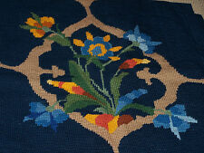 FABULOUS NEEDLEPOINT CHAIR SEAT, BLUE GEOMETRIC FLORAL, COLUMBIA CANVAS #8908