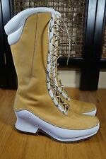 Timberland BOOT Womens size 8.5 M Wheat White Wedge Heel Lace Up #85374 0878