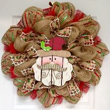 Adorable Wooden Santa With Metal Whiskers Deco Mesh Christmas Wreath