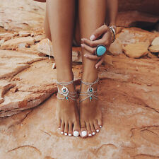 Summer Bracelet Bohemian Foot Jewelry Turquoise Beads Carving Flower Anklet
