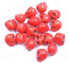 20pcs Red Turquoise Carved Skull Spacer Loose Beads Charms 10X8MM