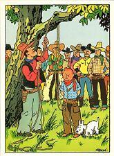 Affiche HERGE   Tintin chez les cowboys  28x39