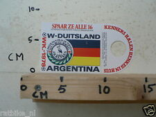 STICKER,DECAL WK ARGENTINA 1978 VOETBAL,SOCCER JH HENKES W-DUITSLAND NOT 100 % O