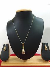 Indian Bollywood Gold Plated Chain Pendant CZ Fashion Jewelry Necklace Set