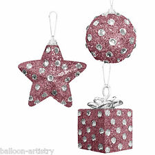 3 Assorted Christmas BLUSH PINK Polka Diamond Hanging Baubles Decorations