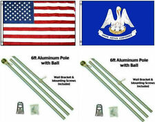 3x5 USA American   State of Louisiana Flag Aluminum Pole Kit Ball Top 3 #039;x5 #039;
