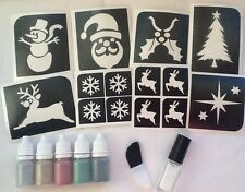 CHRISTMAS GLITTER TATTOO KIT STENCILS/PUFFERS/GLUE XMAS SANTA  up to 70 tattoos