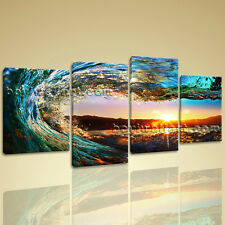Large 4 Pieces Canvas Prints Gallery Wrapped Wall Art Surf Sunset Glow Framed