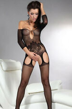 Off-shoulder Cutouts Fishnet Bodystocking Black Open Crotch night women Lingerie