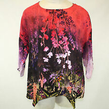 NEW NWT Citron Clothing Butterfly Flowers Pink 100% Silk Fukure Tunic Blouse 2X