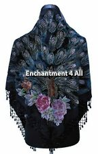 New Stunning Beaded Triangular 100% Silk Velvet Peacock Scarf Shawl Wrap, Black