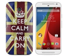 TPU Case f Motorola Moto G2 Schutzhülle Tasche Cover Etui Keep Calm and Carry On