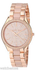 Michael Kors Slim Runway Womens Gold Crystal Dial Gold Steel Bracelet MK4288