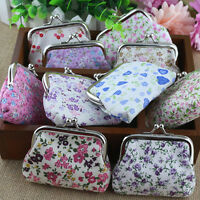 New Retro Women Ladies Cotton Fabric Hasp Coin Bags Floral Printed Coin Purses
