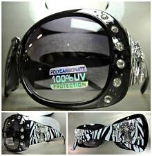 WESTERN Bling Crystals COWGIRL ZEBRA SUN GLASSES Black Frame Silver Cross Concho