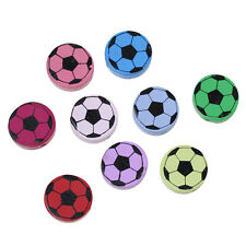 5 perles Ronde en bois 20mm couleur mixte Ballon de Football Attache tetine Foot