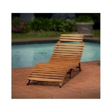 Wooden Lounge Chair Patio Sunbathing Poolside Fold Up Lawn Bench Porch Deck Seat