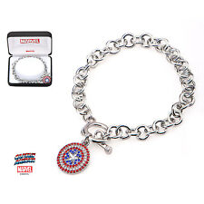Marvel Gem Covered Captain America Shield Charm Bracelet Licensed Jewellery