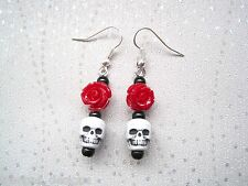 * Lucite Red Rose cráneo gótico * Black Pearl Sp pendientes Halloween Rock Tattoo