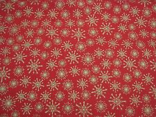 GOLD STARS/RED CHRISTMAS FABRIC-100% COTTON-112MM WIDE-SOLD PER 1/2 METRE-CRAFTS