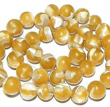 MP658f Yellow Mother of Pearl Shell & Resin 9-10mm Round Gemstone Beads 15""