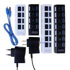 7/4 Port USB 3.0 Hub with On/Off Switch+ EU/US AC Power Adapter for PC Laptop BA