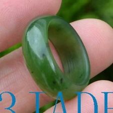 17.5mm Natural Green Nephrite Jade Ring Size 7 Fine Jewelry