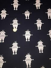 Printed Stretch Jersey Knit Fabric -Robots   - 92% Cotton 8% Elastane HalfMetre