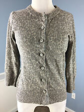 Banana Republic Cashmere Wool Blend Gray Animal Print Cardigan Sweater M 3/4 slv