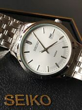 Seiko Mens Silver Tone Stainless Steel Bracelet Classic Watch SUR141P1 NWT Case