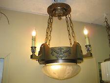 1920s Brass 5 light pan fixture , hanging Light