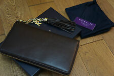 BNIB RALPH LAUREN RL TASSEL TRAVEL WALLET IN NAPPA CHOCOLATE LEATHER £350