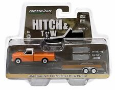 1:64 GreenLight *HITCH & TOW 2* 1969 Chevy C-10 Pickup w/Flatbed Car Trailer NIP