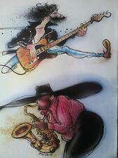 Bruce Springsteen & Clarence Caricature Artwork from Music Book 28x21cm