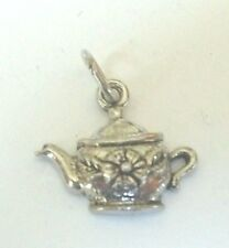 "ADORABLE VINTAGE TEA POT CHARM STERLING SILVER SLIGHTLY UNDER 2/3""LONG DETAILS"