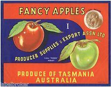 APPLE CRATE LABEL VINTAGE AUSTRALIA TASMANIA 1950S ORIGINAL LION HOBART ANIMAL
