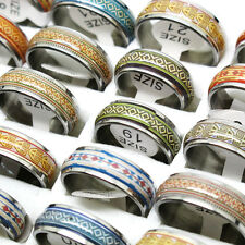 Lots 10Pcs Vintage Stylish Oil Drop Stainless Steel Mixed Size Rings T11