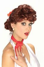 Womens 50s Auburn Red Wig Housewife Rockabilly Curly Vintage House Wife Adult