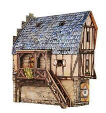 Cardboard model kit. The medieval town. School. Wargame landscape.