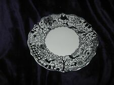 222 FIFTH Dinner Black & White Plates Wiccan Lace Halloween - Set of 4 - New