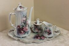 Lois White Porcelain Tea Pot, Sugar with Lid, Creamer, Tray, Pristine, Beautiful